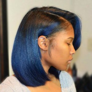 A touch of color bob wig blue