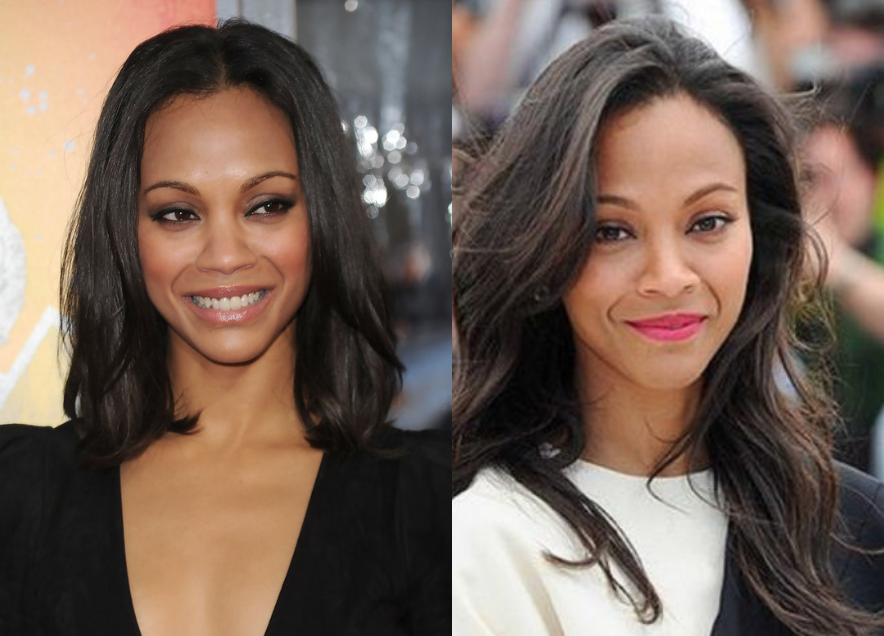 What your hair says about you.| Zoe-saldana-long-hair-vs-bob| weave| Johannesburg